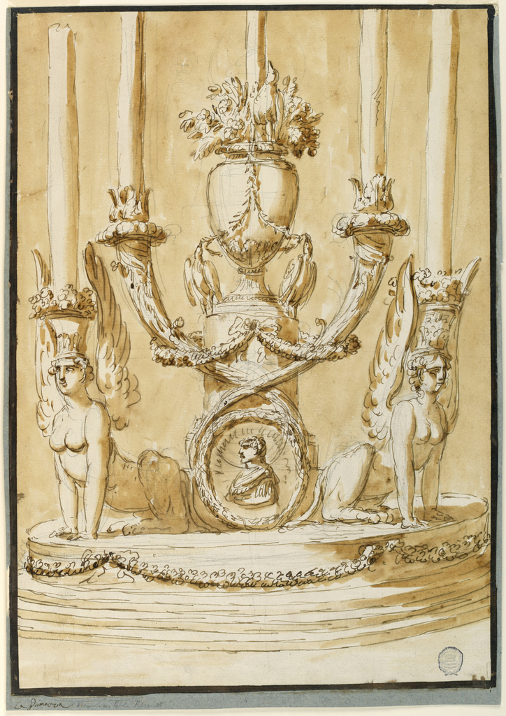 Vertical rectangle. Below is a circular base with three steps. Two sphinxes sit radially carrying a basket with flowers upon their heads from which a candle rises. In the center is a pedestal with a vase. In front of it is below a medallion with a bust portrait, above tow crossed horns which are supported by festoons. Each carries a candle. At the foot of teh vase are two birds supporting festoons. Another stands at the foot of the upper candle which rises from flowers. Framing dark brown stripe. Mounted and framed except above stripes fo gray blue paper.