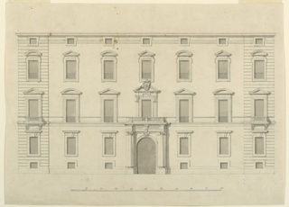 "Three stories, basement, mansard; seven bays. The outside bays project slightly and are rustic. The windows of the basement are connected by crenellated band. The pediments of the French windows in the two upper stories are alternately triangular and circular. The coat of arms of the marchese is in the center. Inscription in the frieze of the doorway: ""IO. IACOB. MARINI MAR. GENZANI / MAGNAS HISPANIAR [um]."" Straight molding on top. Bottom: scale."