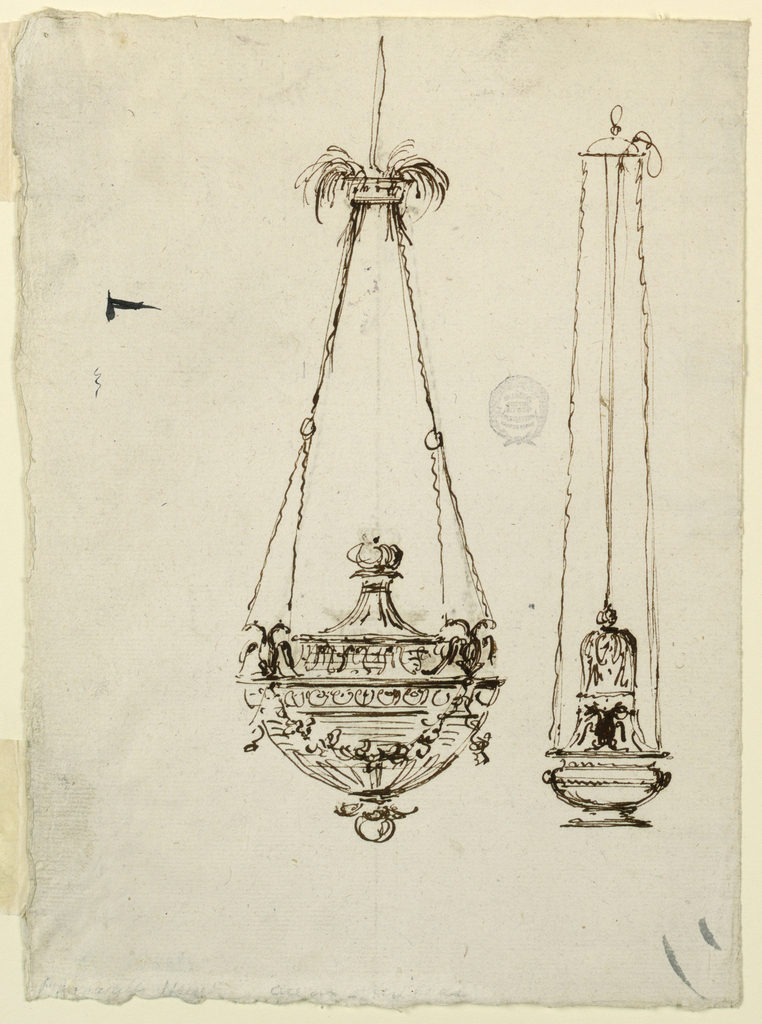 Two censers decorated with double-headed eagles. At top of left censer, a fountain form.