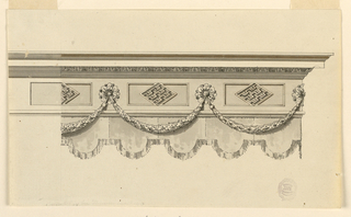 Horizontal rectangle showing design for an entablature with corner at right. A festoon hangs from rosettes set within the frieze. Below this is hangs fringed drapery.