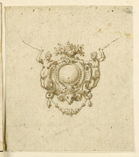 Drawing, Design for escutcheon pendant with two women's and ram's head., 16th century