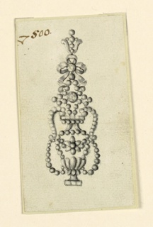 Jewelry design for an earring. The lower part has the shape of a vase with a flower blossom at center. Above, a knotted ribbon with a palmette on top; the decorative scheme mostly composed of rows of beads.
