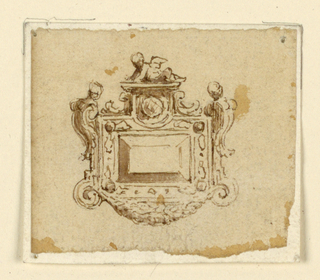An oblong diamond is framed with acanthus leaves, a festoon and putto.