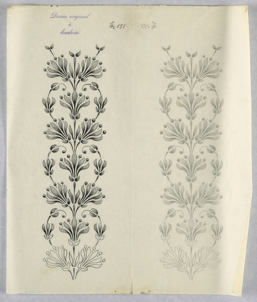 """Vertical rectangle. Designs of abstract floral patterns for panels and borders. Each drawing stamped at top: """"Sessin original a broderie."""" Designs numbered 121 (A)"""