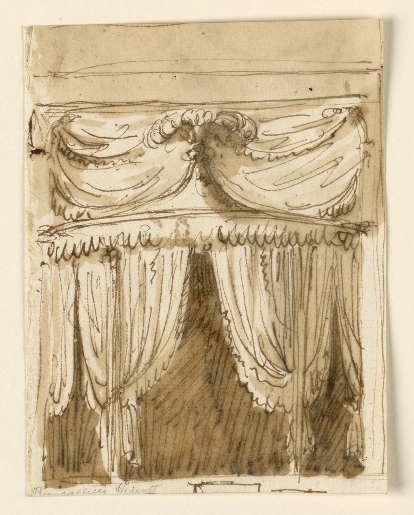 Tented alcove. The central portion is circular. Two gatherings of drapery form and entryway. The roof is pointed, with a cresting of feathers. The wall behind is draped with textiles.