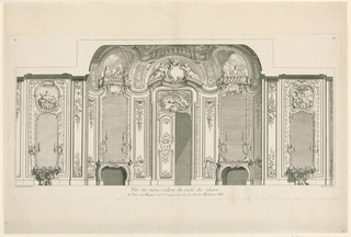 "Wall of a room decorated in the rocaille style, with mirrors. A door is flanked by fireplaces and console tables. Inscribed, lower left: ""J.A. Meissonnier inv.""; Lower right: ""Babale Sculp."" In center: ""Vue du meme Sallon du coste des glaces."""