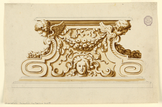 Mouldings at the bottom and top. Cherubim over volutes with garlands are at the edges. The cherubim are connected by a festoon, under which a female mask is flanked by scrolls.
