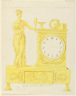 Clock sits on footed base, lower front panel shows relief scene of Cupid ferrying Chronos, bow of boat is swan-shaped. Clock at right, with wreath, bowl and box above. At left, a woman holding flowers, gazing in a mirror.