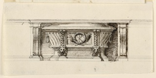 In the opening of the altar mensa stands a bathtub sarcophagus with two lion's heads at the base below the dividing vertical strips. In the central panel are two crossed palm branches, a wreath and a PX.