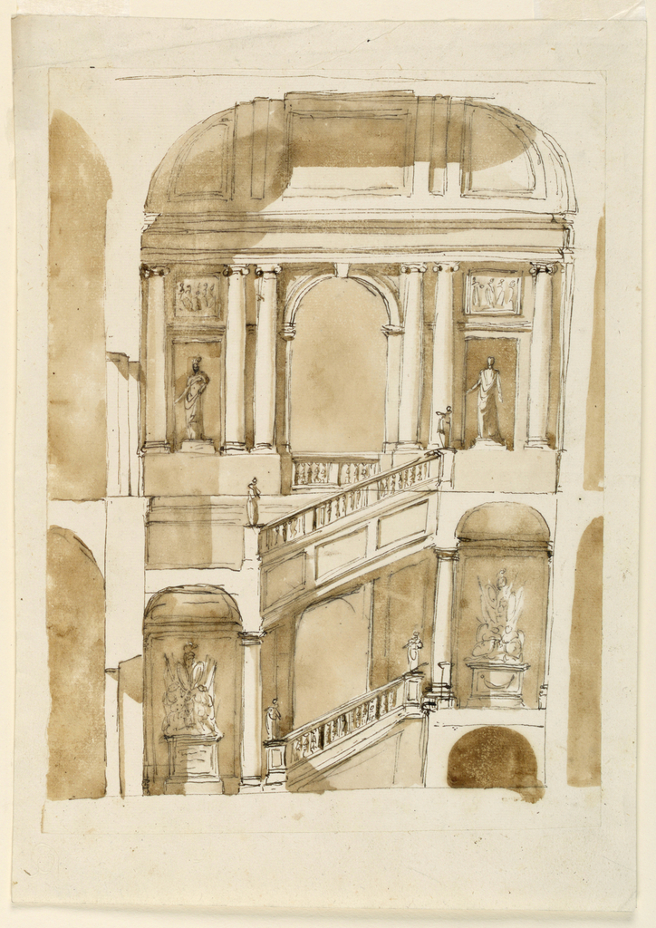 Stairway. Probably for the Palazzo Braschi alle Convertite.