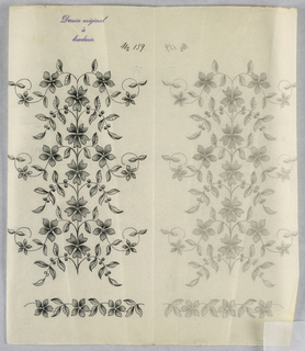 """Vertical rectangle. Designs of abstract floral patterns for panels and borders. Each drawing stamped at top: """"Sessin original a broderie."""" Designs numbered 159 (F)"""