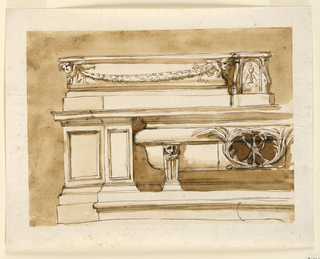 Horizontal rectangle. The left half is shown. The central part is projecting. One step leads to it. Laterally are molded panels. The bathtub sarcophagus is supported by a gaine with a lion mask. In the center is an ovoidal opening with a monogram in front and with a framing of palm branches. In the center of the ledge is the tabernacle. In front of the upper mouldings is a festoon supported by a cherubim.