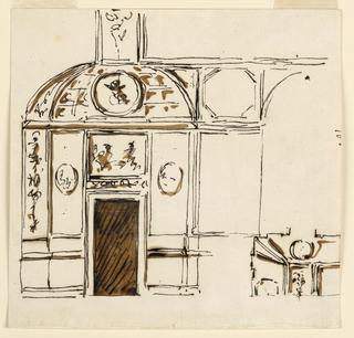 Drawing, Door side of room