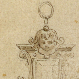 An oblong diamond with architectural frame. At top, a mask and ring. Below, volutes, a rosette and festoon.