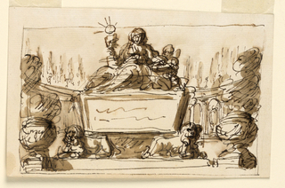Drawing, Sarcophagus and allegorical figures