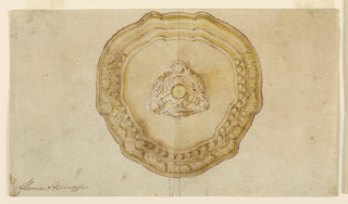 Design for a chalice, seen in plan, in a shape of the seventeenth century, with Louis XVI motifs of decoration.