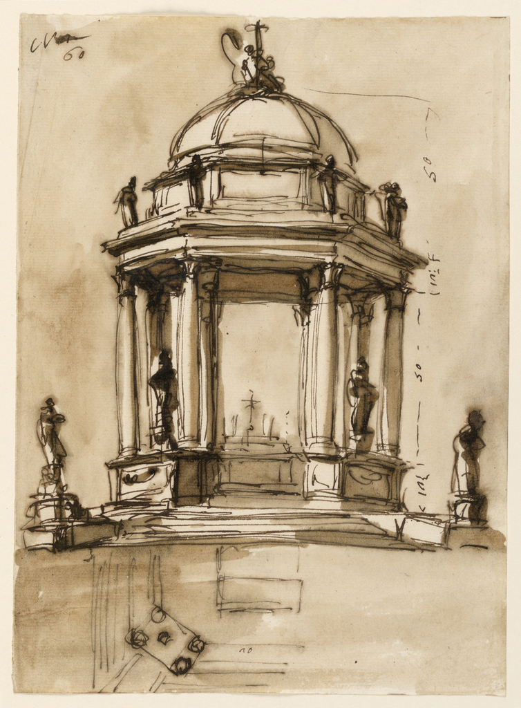 """Vertical rectangle. Small domed building, with a small wall about three feet high, open above. Statues on this wall and in the center under the dome an altar. Section of ground plan and dimensions shown. At upper left corner, the number """"60""""."""
