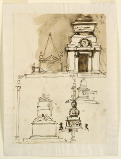 Most or all designs intended for one of kings, Louis XVI of France. Top row left: a sepulchral chamber with a triangular pediment and with a pyramid rising on top, standing upon a platform. Right: a sarcophagus standing on top of a sepulchral chamber. Bottom row, right: a cinerary urn stands upon a pedestal with several sections upon a platform of the usual design. Above this design was roughly sketched a similar one, lines of the platform cutting along the urn. Left: columns probably intended as candlesticks stand in the front corners of a platform upon which an oblong pedestal stands. Two figures crouch upon it, behind whom a circular pediment rises carrying a cushion with crown and sceptre. The column at right is drawn over the designs at right. Colored background, top row right.
