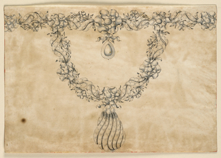 Jewelry design for a necklace with a horizontal band at top and an attached curving band below. The bands made of interlaced chain consisting of a scroll of ribbons and a garland with rosettes of leaves at the joining of the two parts; additional rosettes evenly spaced throughout. Hanging from the center of the horizontal band's largest rosette is a knotted ribbon that holds a drop. Hanging from the center of the curving band's central rosette is a teardrop-shaped shell, composed of ribbons with diamonds or pearls.