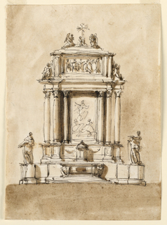 Vertical rectangle. The lower part is a variation of -1369, the round pedestals having a smaller diameter, the connecting walls being longer. Statues stand upon the pedestals. In the center of the retable is a picture of an Ascension. On either side are three columns, the central one is projecting. Above the entablature is a framed panel with a representation. Beside it are two sitting angels. On top of it is a base with two angels, adoring the cross, which is supported by a kneeling figure. Usual background.