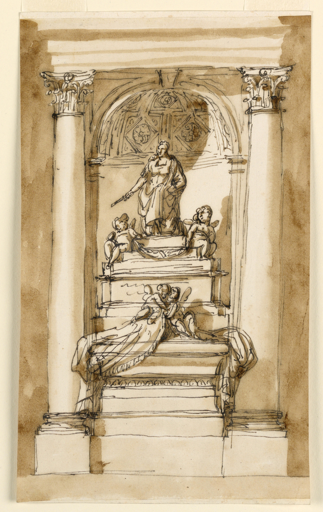 The architectural setting is the same as in 1938-88-1295, but a niche in the wall is suggested. In front of the pedestal stands the sarcophagus, whose fringed cloth is held up by two putti. The pedestal has several offsets. On top of the statue of the kneeling ruler is classical attire. Below it is a festoon, supported by two sitting putti. The decoration of the couch is sketched.