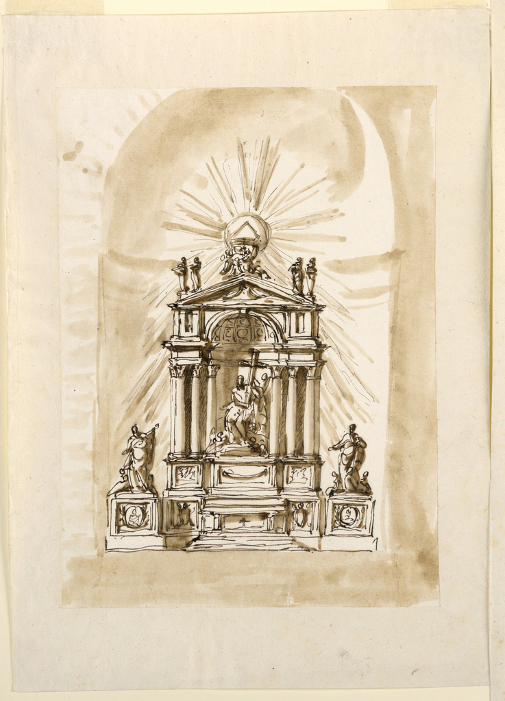 The mensa is in the center of the socle zone; beside it are two panels with escutcheons. Laterally stand rectangular pedestals, either of them with a medallion above crossed branches at the front, and with a group of standing figures between two sitting angels. In the next zone are three projecting pedestals. The outer ones, with a representation at their fronts, support two columns each; the central one, decorated with a festoon, supports a group, consisting of a woman with a cross, and angels. The retable forms a niche, the conch of which his above the entablature. On top is a triangular pediment, with two figures standing upon the lower corners, and on top the triangle in a globe, with a glory of rays, supported apparently by two sitting angels.
