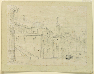 Horizontal rectangle. The street is leading diagonally toward the right. It is bordered, at left, mainly by houses between two side streets, bordered at the beginning by stairs. A column, with a statue on top, a pyramid, more houses, and what seems to be an aqueduct, in the background. On the street, a carriage drawn by two horses, a woman, and a child.