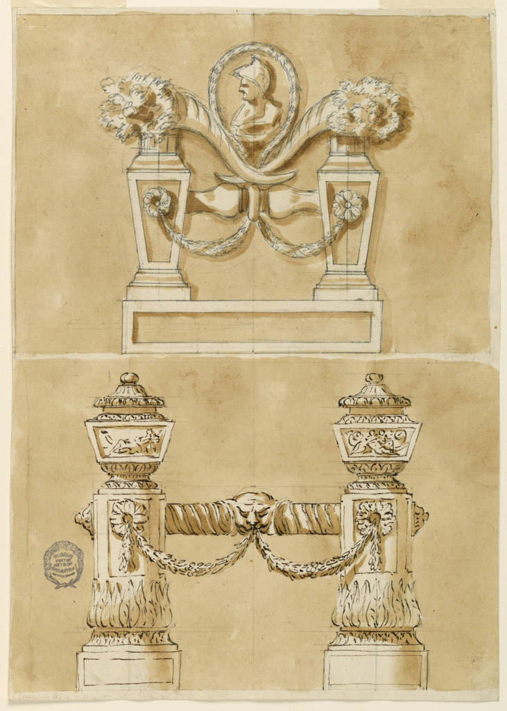 Vertical rectangle. Above: Two angular balusters stand upon a base. They are connected by a joint in the shape of the shaft of a symmetrical baluster and by festoons pending from the central molding of the joint and from rosettes in the front panels of the balusters. Two crossed cornucopiae are supported by the joint and the cresting of the balusters. In the interval is a bust of a warrior framed by a slope of a garland, possibly belonging to the festoons. Below: Two circular pedestals support vases, with bases. The lower part of the shaft is decorated with a calice, the upper with panels. The body of the cases consists of trapezia with representations, the feet, the necks, the covers are circular. The pedestals are connected by a twisted bar, with an estucheon with a mask in the center. The latter is connected by festoons with rosettes in the front panels. The background of both projects is colored.