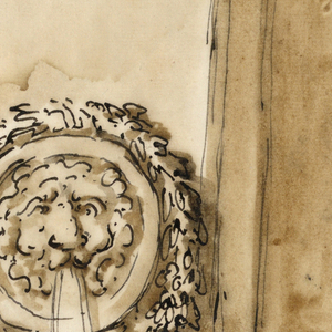Water flows from the mouth of a lion's mask within a roundel topped with a garland.