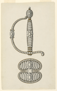 Jeweled designs for hilt and guard of a dress sword. Hilt is decorated with a pattern of horizontal gilded metal bands accented with small diamonds and rosettes. At top, an ovoid-shaped pommel with button.