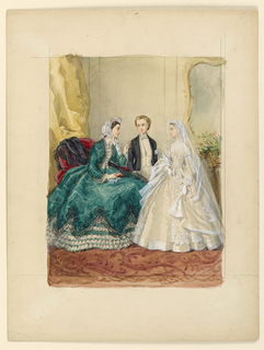 Vertical rectangle. Interior with three figures. A woman is seated left, facing right, in profile. Beside her, right, stand a boy and a girl, the girl in her confirmation dress and veil.