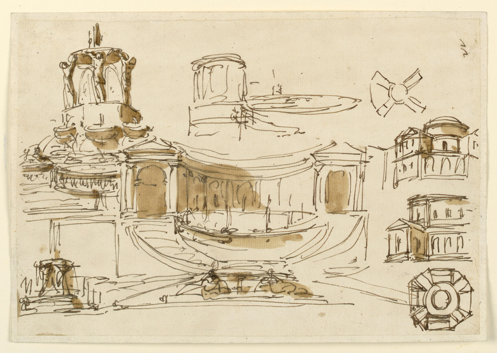Drawing, Fountains and coffee houses