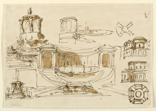 Left row: two fountains, the upper basins of which are supported by standing figures. Center row: a very roughly sketched top corner part of the background for a fountain. A fountain, with colossal basin before a semicircular colonnade on a high dado. Flights of stairs lead to the colonnade. Right one: plan and elevation of a wheel-shaped plan. Part of an elevation and plan of a café with octagonal plan.