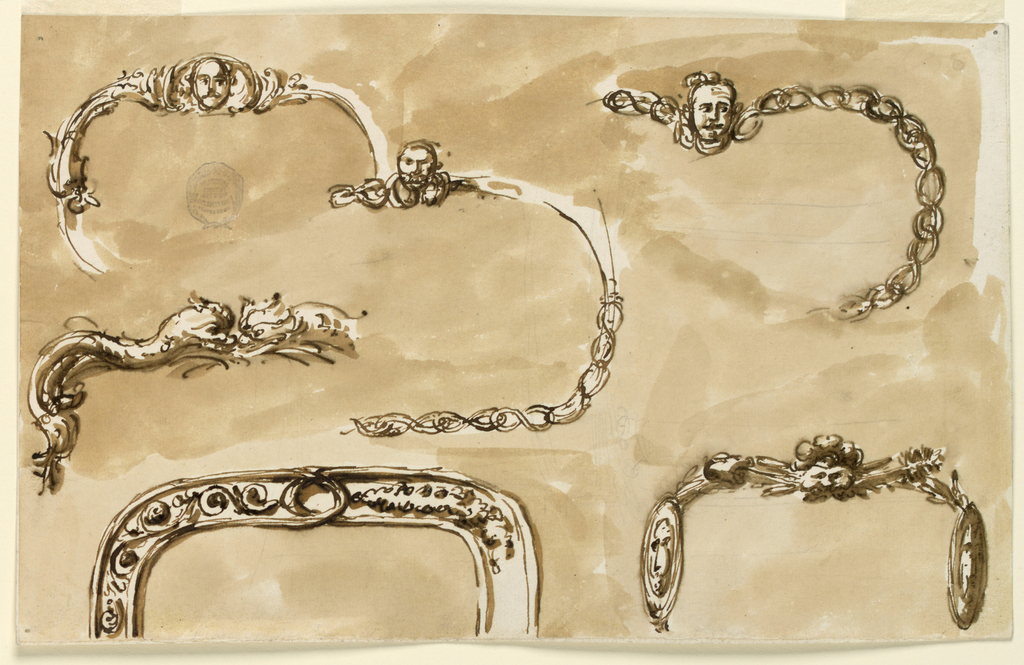 Foliate scrolls with masks. Dolphins at left.