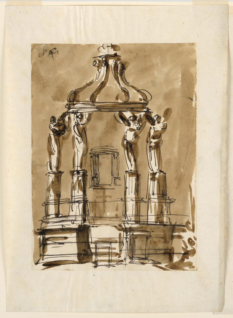 A sketch for the right part of a similar design as -1360. Its lower part has been drawn over with a sketch, showing two attempts to place the tabernacle into the lower  part of the altar ledges into which the former dado and steps are transformed.