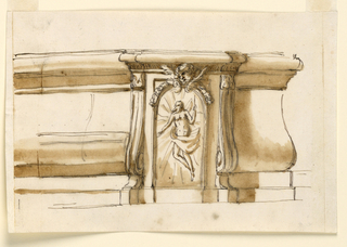 Horizontal rectangle. See 1901-39-2625. The tabernacle is framed by reversed consoles. Upon the door is a representation of the rising Christ. It is above semi-circular and has on top a cherub and a garland. Laterally are moldings, with a high, central ogee, at left seen from the front, at right from the side.