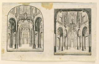 Two vertical rectangles on one sheet, both showing circular halls with balustrades running above the vaults of the ground floor. Richly decorated with coupled columns and cloth hangings.