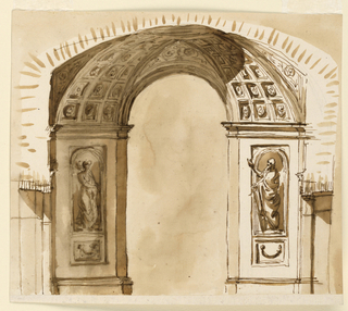 Drawing, Elevation of a church doorway