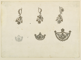 Drawing, Earrings and Brooches, 1825–30
