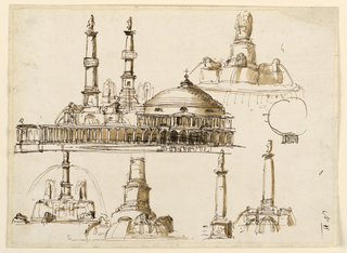 Drawing, Fountain; elevation of a church