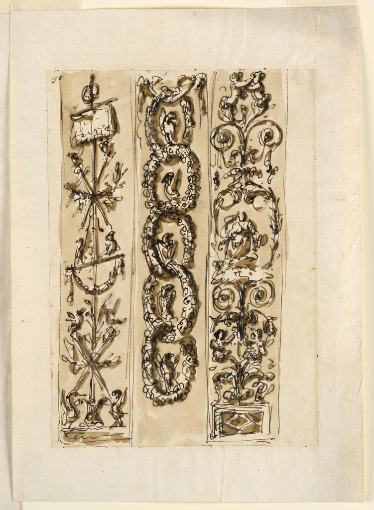 Vertical rectangle. At left: a candelabrum in the scheme of a trophy, with a standard on top, is shown obliquely in the upper part. The central stem springs from a calyx between two birds. Center: a chain formed by wreaths hangs from a drapery festoon. A bird stands in each wreath. At right: a plant candelabrum rises above a base. An oblong is formed in teh center by the sitting figure of a goddess upon clouds. On top are two half-figures of children.