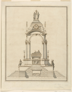 Design for a sepulchral monument.  Elevation view.  Staircases lead up to a platform in the center of which stands a sarcophagus upon a pedestal supported by winged skulls.  A reclining female statue lies upon the sarcophagus.  She holds a stick surrounded by a snake.  At the base of the monument, at the corners, stand two female statues.  In their gesture, they point toward the sarcophagus. Double columns support an arch and a square dome decorated, at the center, with a medallion supported by two cupids.  The sarcophagus is positioned directly below the dome.  On top of the dome stand two female statues beside a pedestal with a vase.  Next to the columns, on the exterior, are two burning candelabra.