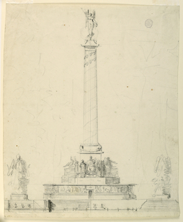 Drawing, Elevation of a victory monument