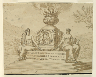 Horizontal rectangle showing a stepped pedestal upon which sits Apollo and a woman with open book, possibly the Muse Calliope. They hold a laurel festoon, behind which a pedestal rises. It shows the medallion portrait and figures of children. A brazier at top.