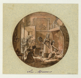 Design for a painted porcelain plate, rondel. A figure of a woman holding a chestnut roaster stands before a large fireplance in a chestnut shop. Beside her to the right, a little girl protects a young boy from reaching into the fire. Another woman at left of center foreground is on her knees sorting chestnuts. To her left in middleground a man is leaving the shop with an armful of chestnut branches.