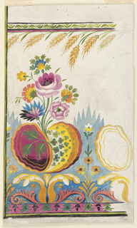 Roses and other fantastical flowers rise from scroll-shaped leaves adjoining a cone-repeat border; sheaths of wheat form top border repeat with a green nut-kernel repeat. Right portion in graphite sketch only.