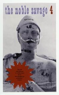"""Cover design for """"The Noble Savage 4,"""" edited by Saul Bellow and Keith Botsford. Black and white photographic image of a three quarter frontal view of a stone sculpture.  Text superimposed over image on headgear, across face and at lower left on image. White text across face in the form of a curling mustache.Title of book appears in """"Playbill"""" type at top of sheet. Pointed red circular shape at lower left with printed black text within."""