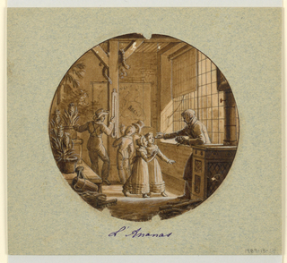 Design for a painted porcelain plate, rondel. The setting is the interior of a greenhouse.  A man in right foreground is holding a pineapple in his left hand while offering a taste of the fruit in his right hand to two small girls. Another man at center points to a wall thermometer to verify the ideal room temperature to ripen pineapples. A watering can in the left foreground leans on a table which holds potted pineapples.  Snakes hang from rafter supports in the middleground.  A map showing Mexico and Brazil is mounted on the rear wall. Light streams through the multi-paned window at right.