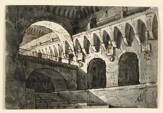 Horizontal rectangle. Court of fortress with stairs leading downward, bridge across vault.