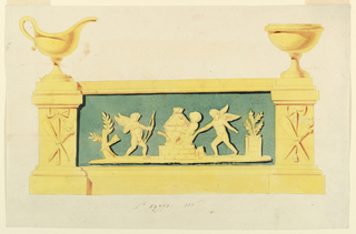 Horizontal design, two pilasters, center panel. A sauceboat at left, bowl on stand at right. Front of pilasters decorated with trophy and burning torch. Elongated front panel shows two putti flanking a beehive. The left putto shoots at it, the right putto holds a lighted torch to it. At left, a tree stump. At right, a plant in box.